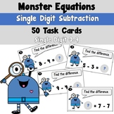 Monster Equations using Simple Subtraction Task Cards