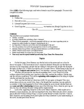 Monster Essay Assignment