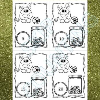 """Monster Eyeballs """"Skip Counting Flash Cards"""" (By 5)"""