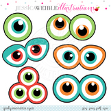 Monster Eyes Cute Digital Clipart, Monster Face Graphics