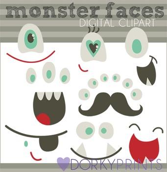 Monster Faces Digital Clip Art