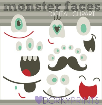 Monster Faces Digital Clip Art