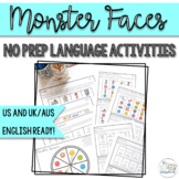 Monster Faces- No Prep Language Activities for Speech and Language Therapy