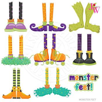 Monster Feet Cute Digital Clipart, Halloween Clip Art