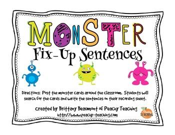 Monster Fix-Up Sentences (sentence editing)