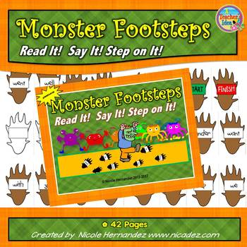 Sight Word Games - Monster Footsteps - Read It, Say It, Step On It!