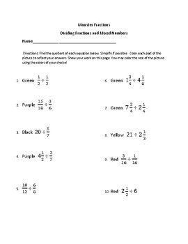 Monster Fractions-Dividing Fractions and Mixed Numbers
