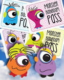 Monster Freebie Bathroom Pass - Four Little Monsters PDF