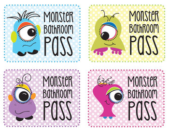 Monster Freebie Bathroom Pass - Four Little Monsters PDF