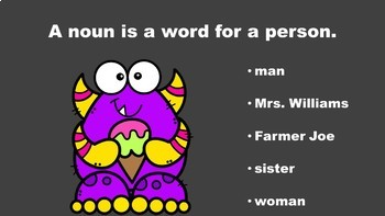 Monster Fun With Nouns - A PowerPoint Game