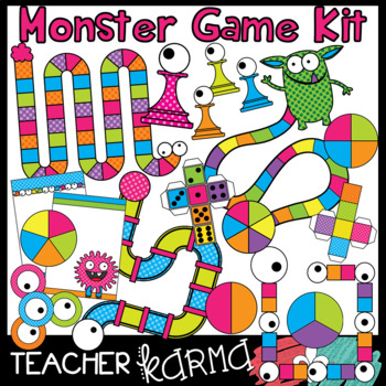 Monster Game Clipart Kit - DIY Game Boards