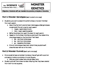 Monster Genetics Worksheet