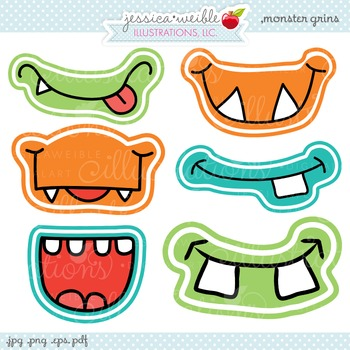 Monster Grins Cute Digital Clipart, Monster Face Graphics