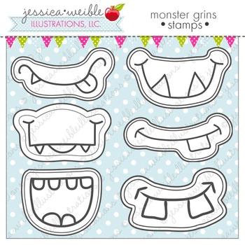 Monster Grins Cute Digital Stamps, Monster Face Graphics