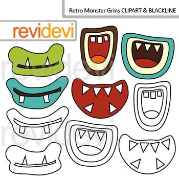 Monster Grins clip art and blackline
