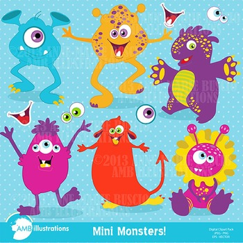 Clipart, Monster clipart, Halloween Clip Art, Digital Download AMB-119