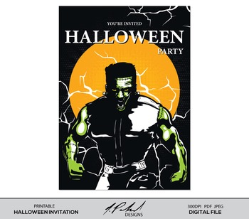 Monster Halloween Party Printable Card Artwork - Instant D