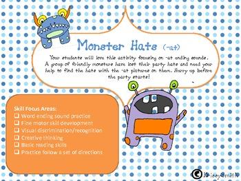 Monster Hat Ending Sounds Practice