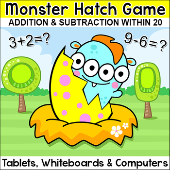 Monster Hatch Addition and Subtraction Math Game - 10 Seasonal Themes Included