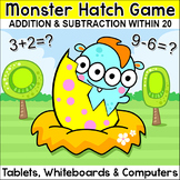 Monster Hatch Addition & Subtraction within 20 Math Game - End of Year Review