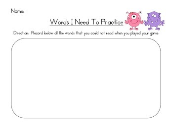 Monster High Frequency Words Level 1