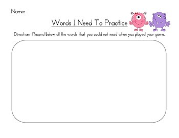 Monster High Frequency Words Level 2