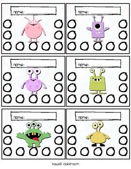 Monster Homework Punch Cards