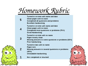 Monster Homework Rubric