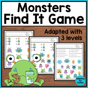 Monster I Spy Adapted Game: 3 levels of difficulty