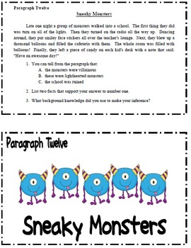 Monster Inferences Literacy Task Cards and Mini-Lessons