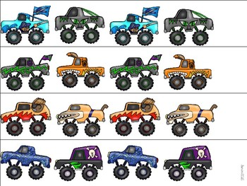 Monster Trucks Literacy and Math Activities for Pre-K and Kindergarten