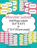 Monster Labels (2 sizes) - Editable