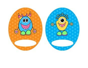 Monster Labels, Bright Polka Dots