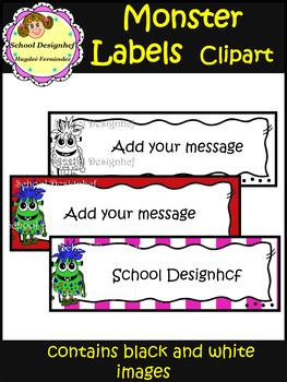 Monster Labels - Clip Art - Back to School (School Designhcf)