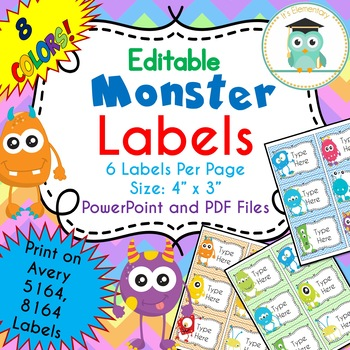 monster labels editable avery 5164 8164 by it s elementary store
