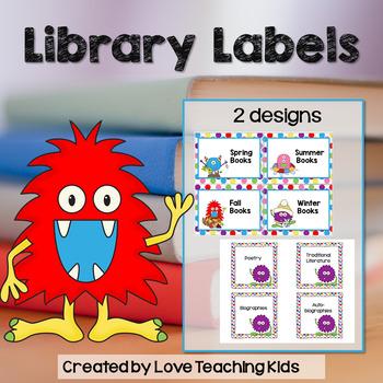 Book Bin Labels- Monsters