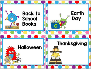 Monster Classroom Theme - Library Labels Book Bin Labels