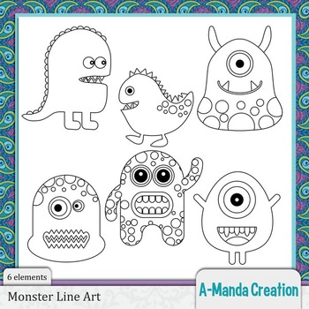 Monster Line Art and Digital Stamps
