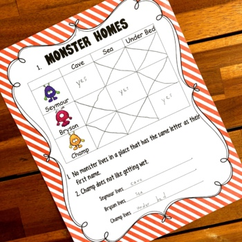 Monster Logic Problems for Kids with Answers