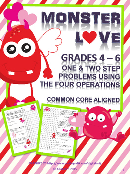 Valentine's Day Math Word Problems: 4th-6th Grade - Monster Love