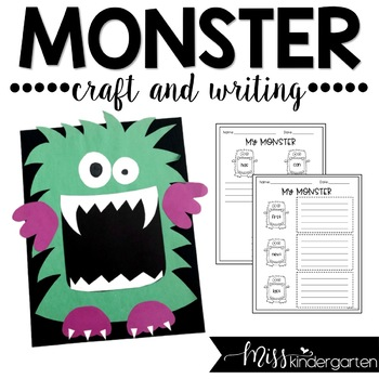 Halloween Craft Monster Craft And Writing By Miss Kindergarten Love