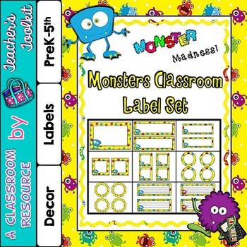 Monster Themed Classroom Label Set Plus Editable Files {UK