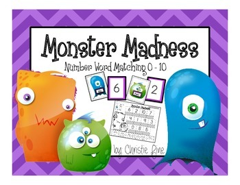 Monster Madness Number Word Matching