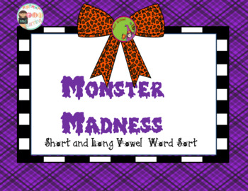 Monster Madness Short and Long Vowels word sort