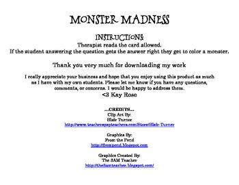 Monster Madness Synonyms & Antonyms FREEBIE