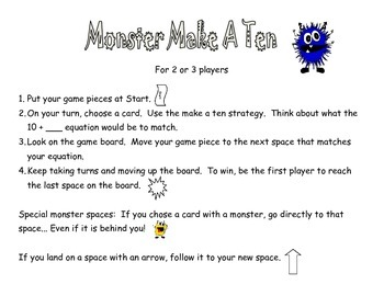 Monster Make A Ten basic facts game