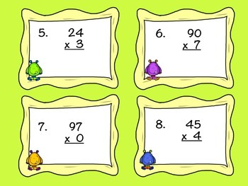 Monster Mania 2 Digit by 1 Digit Multiplication- Task Cards!