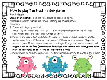 Monster Mania {a.k.a. Language Arts Cootie Catchers}