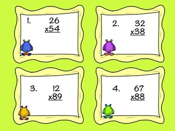 Monster Mash 2 Digit by 2 Digit Multiplication- Task Cards!