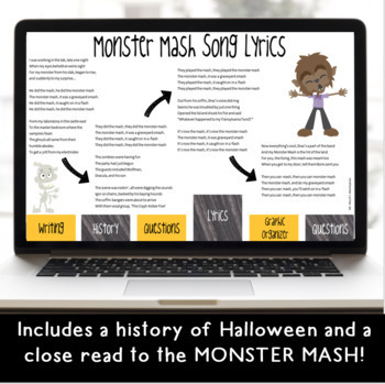 Monster Mash Digital Halloween Reading and Writing Activity for Google Classroom